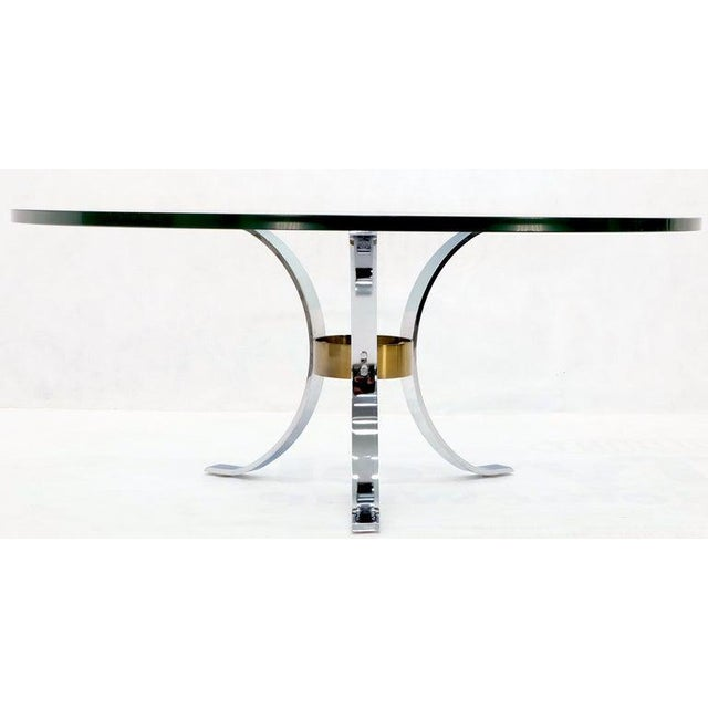 "Heavy Thick 3/4"" Glass Round Top Chrome & Brass Tripod Base Coffee Table For Sale - Image 11 of 12"