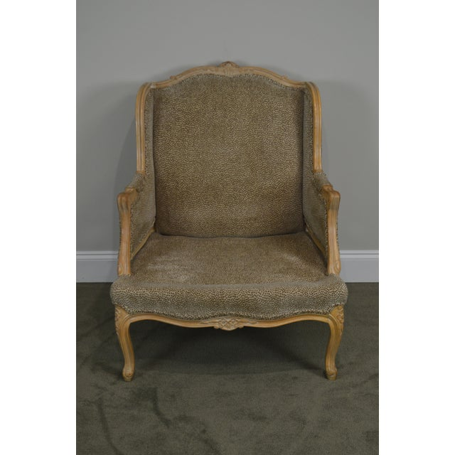 2000s French Louis XV Style Custom Upholstered Wide Seat Bergere Chair With Ottoman For Sale - Image 5 of 13