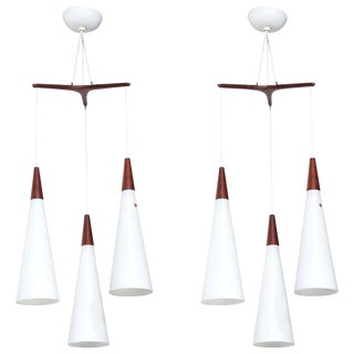 Holmegaard Glasvaerk Triple Teak and White Glass Hanging Pendants, 1950s - a Pair For Sale