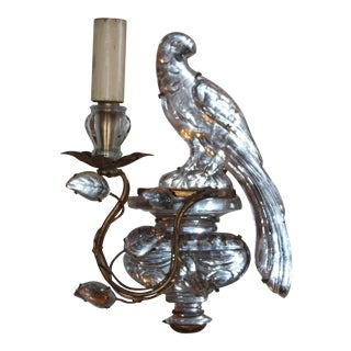 1920s Maison Bagues Signed French Art Deco Crystal & Bronze Parrot Sconce For Sale