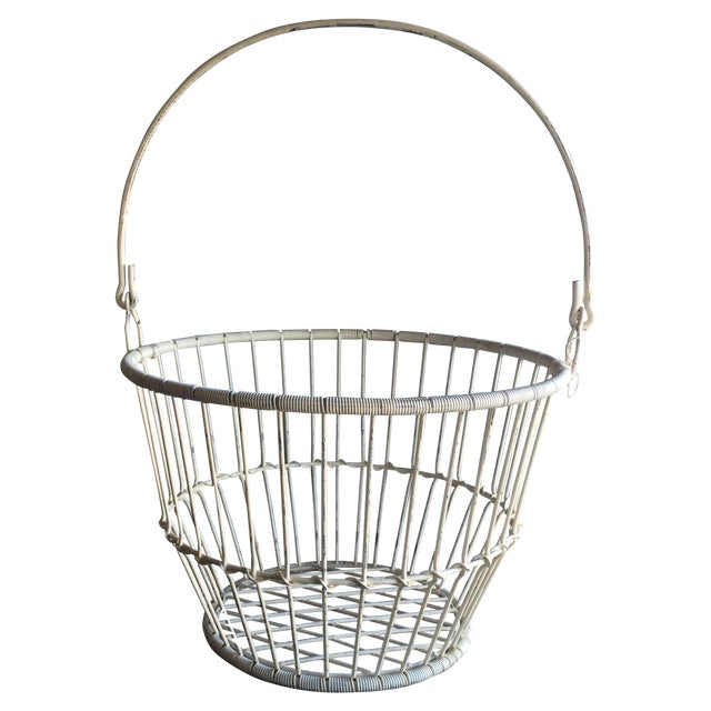 Vintage White Metal and Wire Basket - Image 1 of 7