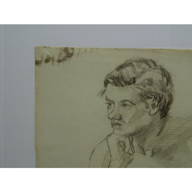 """Mid-Century Modern Original Drawing on Paper, """"Nude in Deep Thought"""" by Tom Sturges Jr For Sale - Image 4 of 6"""