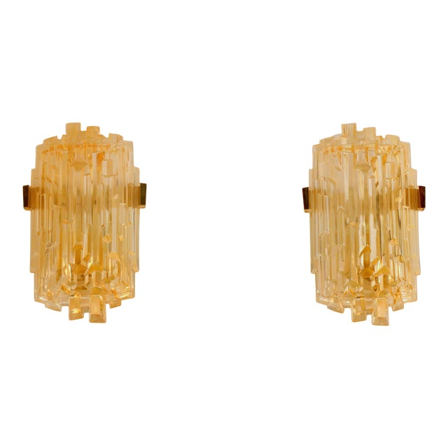 1970s Chic French Brutalist Glass Sconces - a Pair For Sale