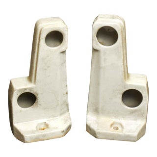 White Porcelain Dual Towel Holder Brackets - A Pair