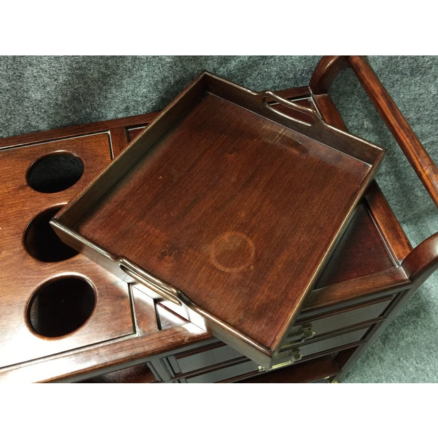Vintage Rosewood Asian Tea Drink Cart - Image 7 of 7