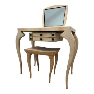 R & Y Augousti Paris Parchment Vanity Table With Matching Bench - S/2 For Sale