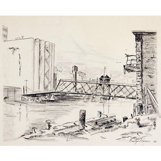 Industrial Harbor Drawing For Sale