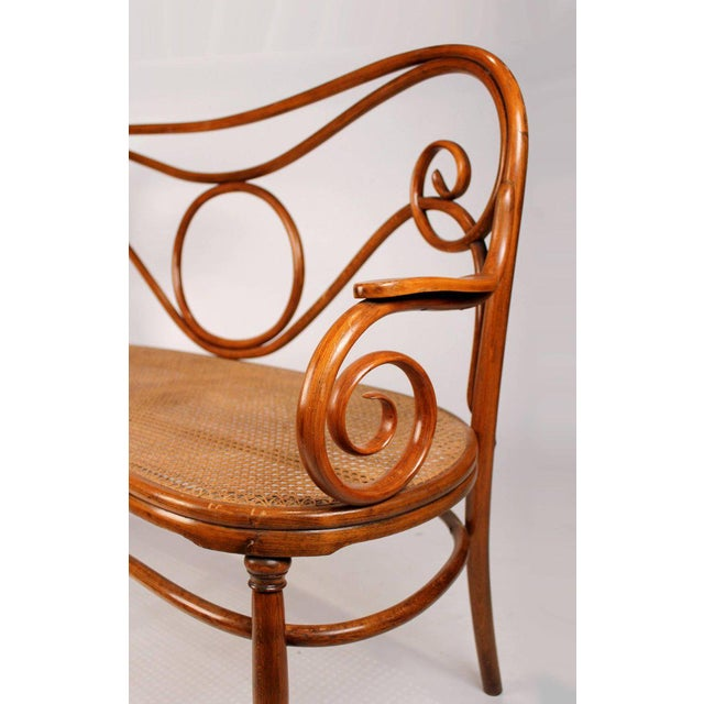 Gebruder Thonet Viennese Secessionist Bentwood Settee Designed by August Thonet For Sale In Dallas - Image 6 of 7