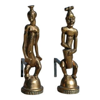 Hagenauer Style Bronze Nubian Andirons For Sale