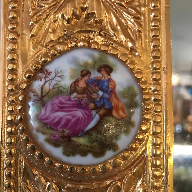 Gold Dore Bronze & Porcelain Mirror For Sale - Image 8 of 8