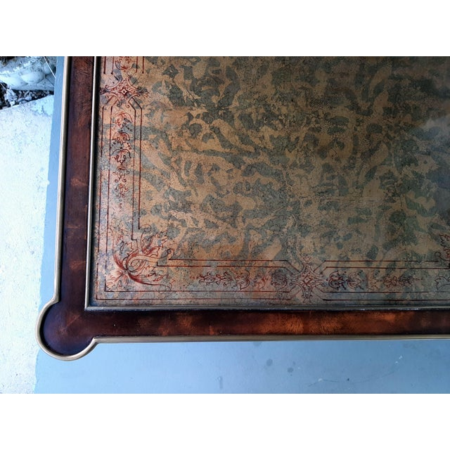 Brown Theodore Alexander Eglomise Walnut End Lamp Table With Lower Shelf, Glass and Brass Accents For Sale - Image 8 of 13