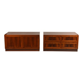 Incredible Pair of Rosewood Low Nightstands or Cabinets From Denmark For Sale