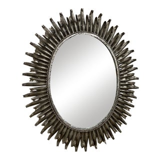 Vintage Silver Leaf Oval Mirror For Sale