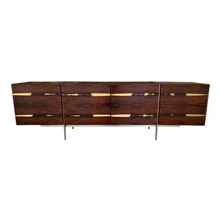 Kofod-Larsen Danish Modern Rosewood and Metal Sideboard Credenza Storage Piece