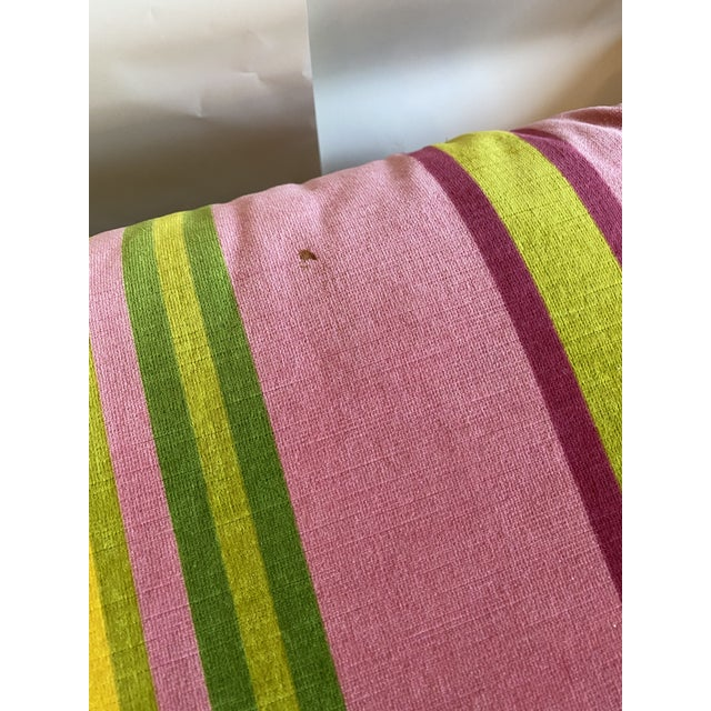 Mid 20th Century Pair of Velvet Pink and Green Stripe Milo Baughman Style Parson Benches For Sale - Image 5 of 7