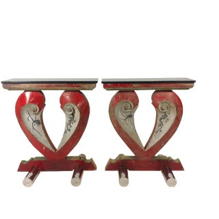 Pair of Consoles Created From Temple Details For Sale