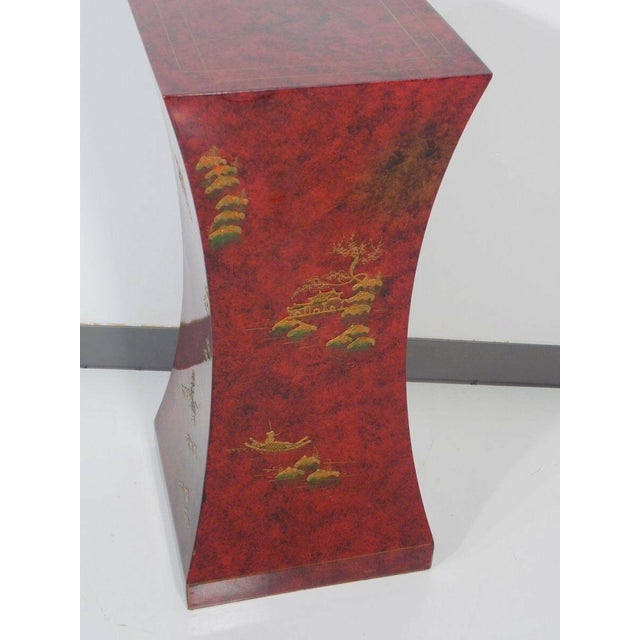 Red Vintage Asian Style Pedestal. This pedestal has a chinoiserie design.