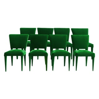Stiletto Dining Chairs Fully Upholstered in Emerald Mohair - Set of 8