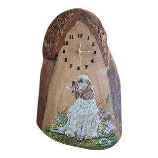 Vintage Hand Painted Cocker Spaniel Myrtle Wood Clock
