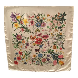 Beautiful Gucci Floral Silk Scarf Designed by v. Accornero For Sale