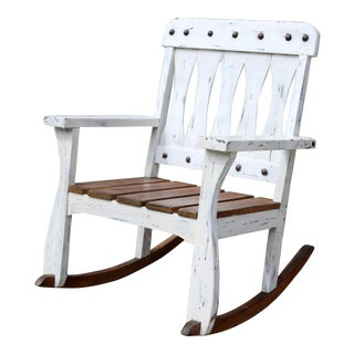 Vintage Child's Whitewashed Wood Rocking Chair For Sale