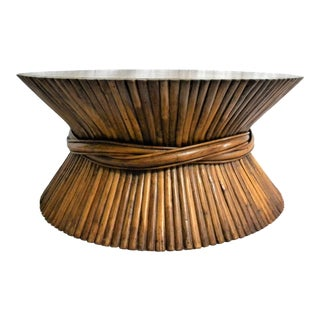Vintage Rattan Wheat Sheaf Coffee Table For Sale