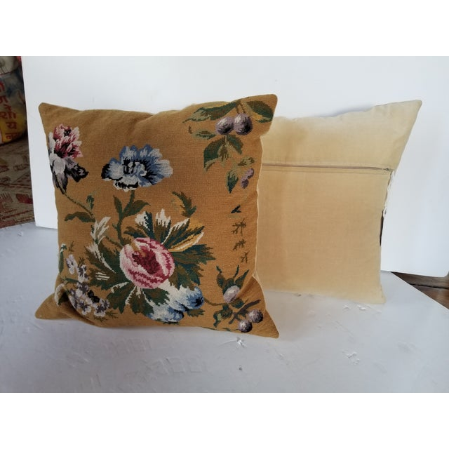 Vintage Needlepoint Floral Pillows - a Pair For Sale - Image 4 of 11