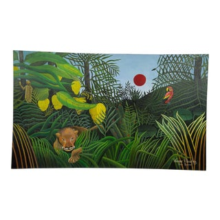 "Wayne Moseley After Henri Rousseau ""In the Jungle"" Oil on Canvas Painting"