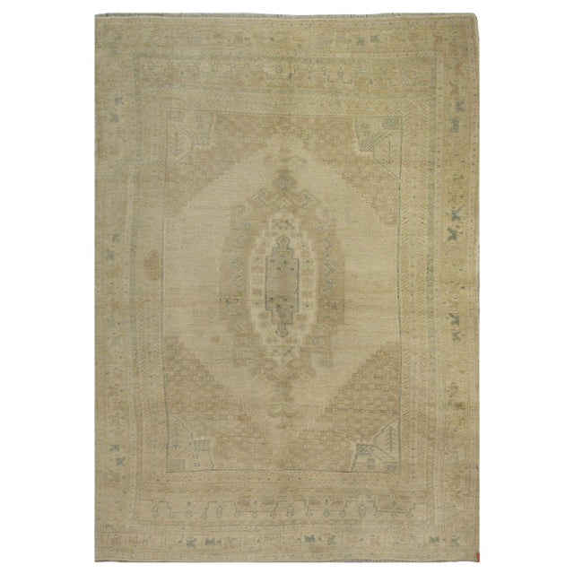 Vintage Turkish Oushak Rug - 4′9″ × 7′1″ For Sale