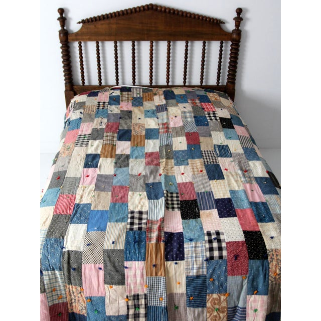 Vintage Hand-Tied Patchwork Quilt For Sale - Image 4 of 10