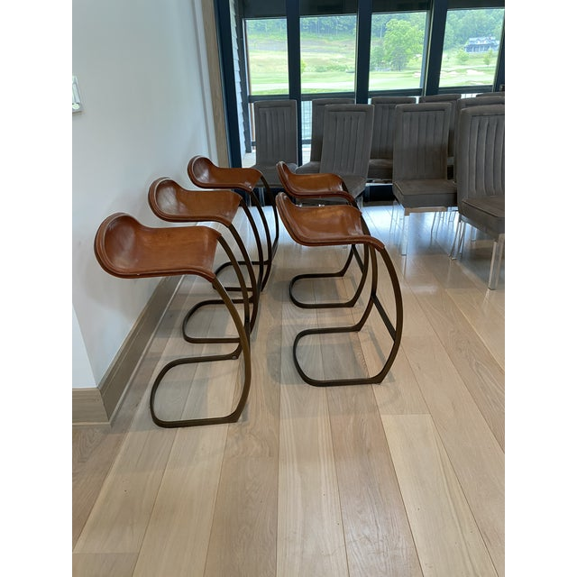 Custom Made Emmerson Troop Leather and Brass Bar Stools - Set of 5 For Sale In New York - Image 6 of 10