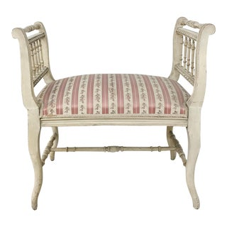 19th Century French Painted Louis XVI Armbench ~ Banquette For Sale