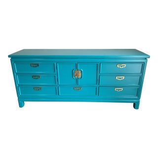 Lacquered Hollywood Regency Thomasville Teal Wood Credenza