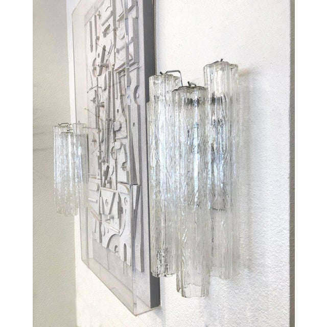 "Italian Pair of Large Italian Murano Glass ""Tronchi"" Wall Sconces by Venini For Sale - Image 3 of 7"