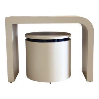 1980s Contemporary Petite White Laminate Waterfall Desk With Rolling Stool - 2 Pieces For Sale