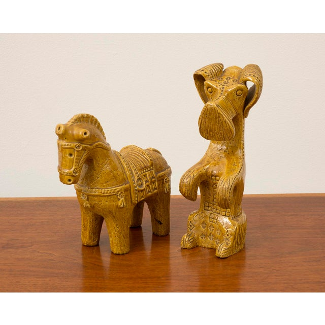 Mid-Century Modern Ceramic Dog and Horse by Aldo Londi in Rare Mustard Glaze for Bitossi, Italy, 1960s For Sale - Image 3 of 13