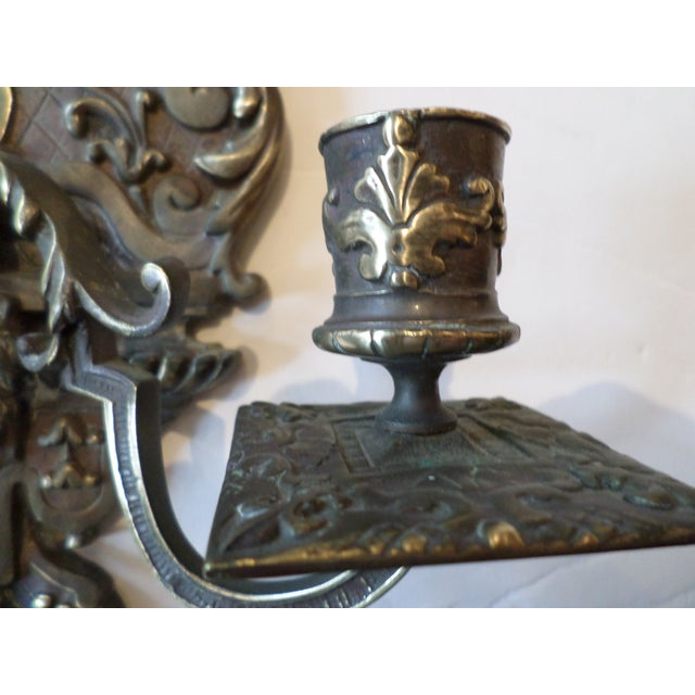 19th Century Italian Bronze Sconces - A Pair For Sale - Image 4 of 10