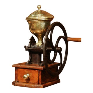 Large 19th Century French Walnut Iron and Brass Coffee Grinder