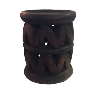 "Superb Old African Bamileke Wood Low Stool 14.75"" H by 12.5 "" D Cameroon Preview"
