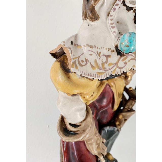 Red 1920s Vintage A. Ciolli Italian Glazed Ceramic Musketeer Greeting Signed Sculpture For Sale - Image 8 of 9