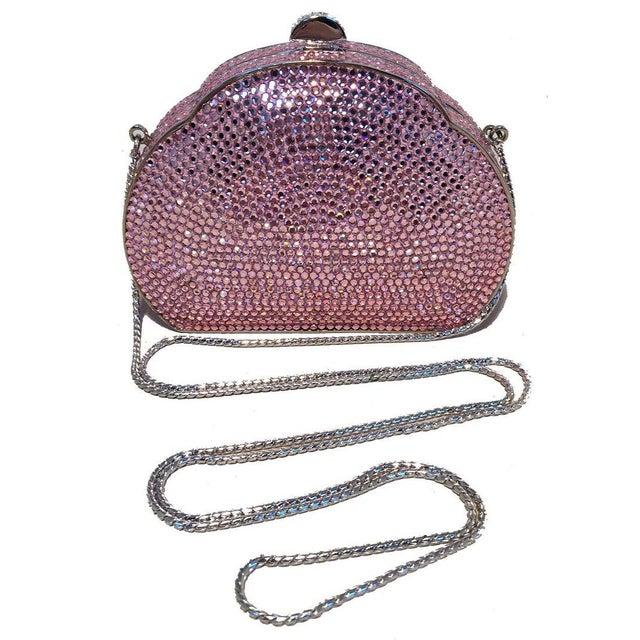 Pink Judith Leiber Pink Swarovski Crystal Minaudiere Evening Bag For Sale - Image 8 of 9