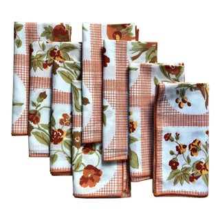 Vintage Floral & Bird Print Napkins - Set of 8 For Sale