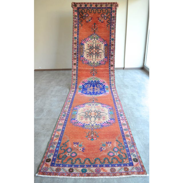 """Oushak Runner Rug Turkish Hand Knotted Distressed Hallway Rug - 3'1"""" X 12'7"""" For Sale - Image 9 of 9"""