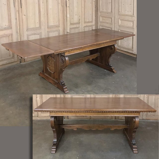 Antique Italian Baroque Inlaid Walnut Draw Leaf Dining Table For Sale - Image 13 of 13