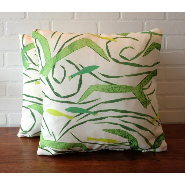 """A pair of custom designer 20""""x20"""" Donghia pillow covers in the pattern """"Santorini,"""" color """"Tropical Green."""" The fabric is..."""