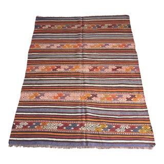 Vintage Multi Color Decorative Floor Kilim Rug For Sale