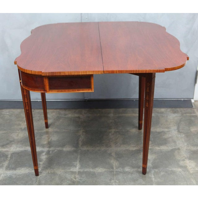 Metal Federal Style Mahogany Game Table For Sale - Image 7 of 9