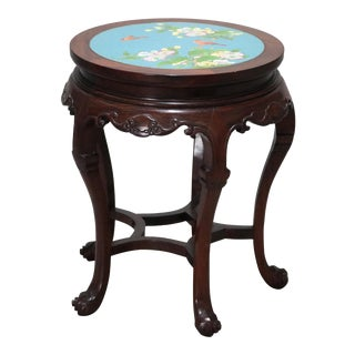 Vintage Chinese Cloisonné and Carved Mahogany Low Table, 20th Century For Sale
