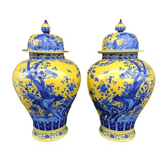 "Stunning Lg Famille Jaune Ginger Jars - a Pair 30.75"" H by 17.5"" D For Sale"