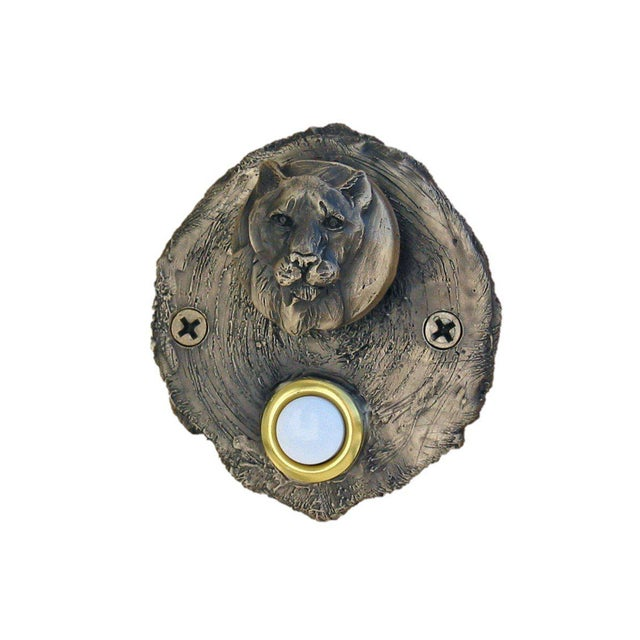 Log End Cougar Doorbell, Traditional Patina For Sale - Image 4 of 5